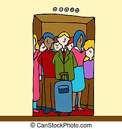 montando, elevador, pessoas