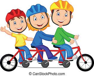 montando, família feliz, caricatura, triplo