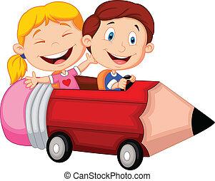 montando, feliz, penci, caricatura, crianças