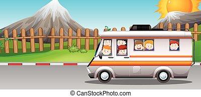 montando, furgão, crianças, campista