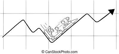montando, ilustração, vetorial, mapa, homens negócios, ou, gráfico, caricatura, roller-coaster