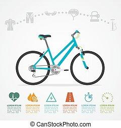 montando, infographic, bicicleta