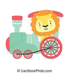 montando, leão, grossas, trem, engraçado, ilustração, mane, vetorial