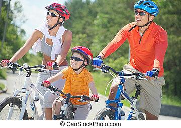 montando, ligado, bicycles