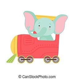 montando, longo, trem, engraçado, elefante, ilustração, tronco, vetorial