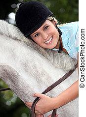 montando, menina, cavalo, loura