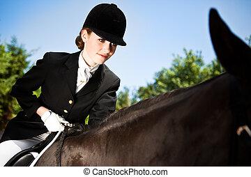 montando, menina, horseback
