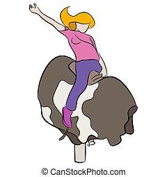 montando, menina, mecânico, touro