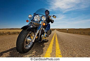 montando, motocicleta