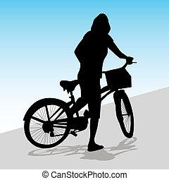 montando, mulher, bicicleta
