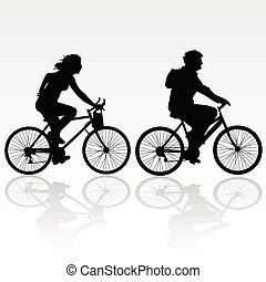 montando, mulher, bicicleta, homem