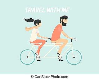 montando, par, bicicleta