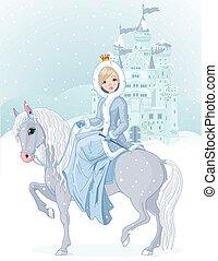 montando, princesa, inverno, cavalo