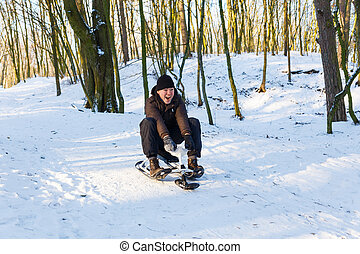 Montando,  scooter, homem, jovem, neve