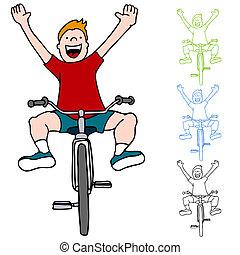 montando, sem, bicicleta, mãos