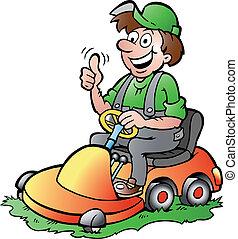 montando, seu, jardineiro, lawnmower
