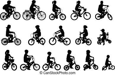 montando, silhuetas, bicycles, cobrança, crianças
