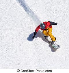 montando, solto, freeride, snowboarder, neve