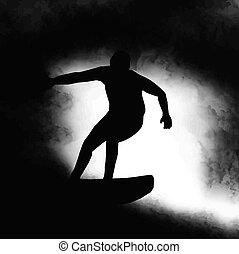 montando, surfista, silueta, onda