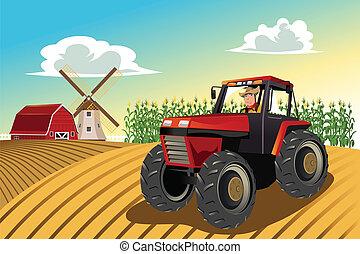 montando, trator, agricultor