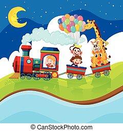 montando, trem, crianças, animais, noturna