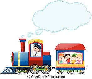 montando, trem, crianças