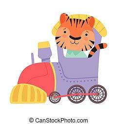 montando, trem, engraçado, ilustração, listrado, vetorial, tiger