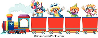 montando, trem, palhaços