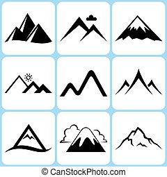 montanha, ícones, jogo
