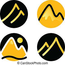 montanha, ícones, jogo, isolado, branco, (, ouro, e, pretas, )