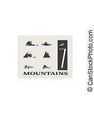 montanha, ícones, set., vetorial, montanhas, paisagem