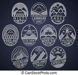 montanha, 2, linear, emblemas, branca