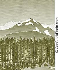 montanha, acampamento, woodcut, selva