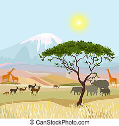 montanha, africano, paisagem, idealista