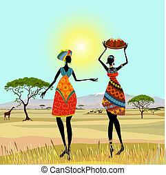 montanha, africano, paisagem, mulheres