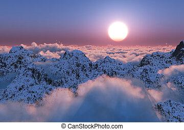 montanha, além, nuvens, pôr do sol