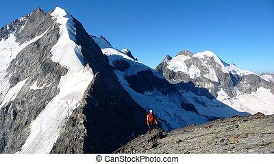 montanha, alto, ápice, pico, escalador, alpino