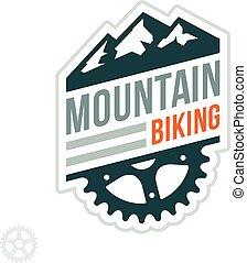 montanha andando bicicleta, emblema