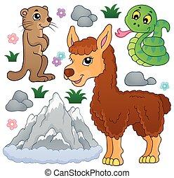 montanha, animais, tema, cobrança, 1