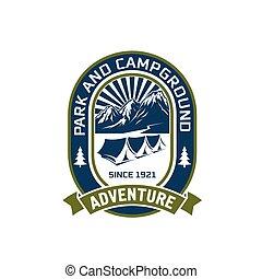 montanha, ao ar livre, acampamento, clube, vetorial, aventura, ícone