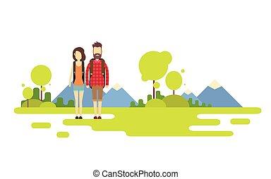 montanha, ao ar livre, hiking, espaço, par, fundo, mulher, viajante, cópia, bandeira, sobre, homem
