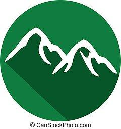 montanha, apartamento, ícone