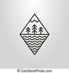 montanha, arte, simples, símbolo, água, vetorial, floresta, ondas, linha, geomã©´ricas