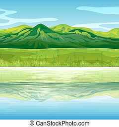 montanha, através, lago
