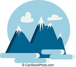 montanha azul, cor, neve, ilustração, vetorial, coberto, ou