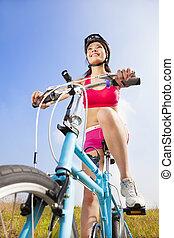 montanha azul, mulher, céu, biker, fundo