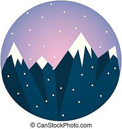 montanha azul, neva-coberto, clipart, cor, ilustração, desenho, gama, vetorial, ou