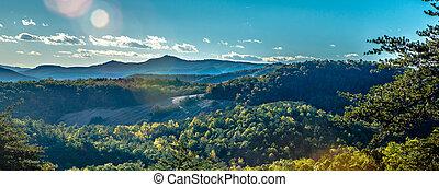 montanha azul, pedra, cume, foliage outono, norte, parkway, carolina