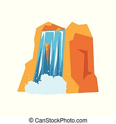 montanha azul, rochoso, coloridos, natureza, concept., apartamento, elemento, bonito, vetorial, ilustração, puro, water., cachoeira, caricatura, paisagem, design.