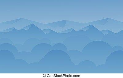 montanha azul, silueta, paisagem, céu